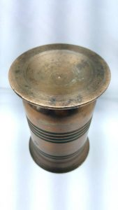 Antique bronze mortar, a very heavy Victorian or early 20th Century mortar or vase with incised line decoration of narrow proportions