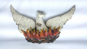 Antique bronze phoenix, a large and very heavy antique cold painted bronze ornament of Phoenix rising from flames. Weighs in excess of 8kg.