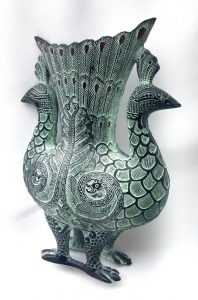 Double peacock bronze ornament, Chinese decorative piece with patinated finish for display purposes, vase shaped vessel, verdigris & enamel