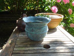 Art Nouveau copper planter, Victorian verdigris jardiniere, fluted edge, repousse floral pattern, gardenalia, gardening, antique plant pot