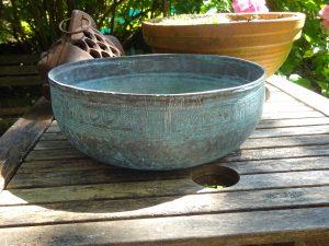 Antique Middle Eastern copper bowl Copper jardiniere, engraved copper planter, verdigris plant pot, gardenalia