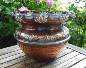 Victorian copper jardiniere, Arts & Crafts copper planter, antique plant pot holder, indoor gardening, gardenalia, repousse copper, patina