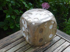 "Vintage large wooden dice, 6"" shabby chic wood dice, ornamental, driftwood style, gardenalia, outdoor games"