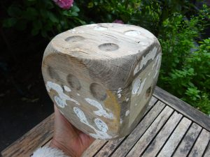 """Vintage large wooden dice, 6"""" shabby chic wood dice, ornamental, driftwood style, gardenalia, outdoor games"""