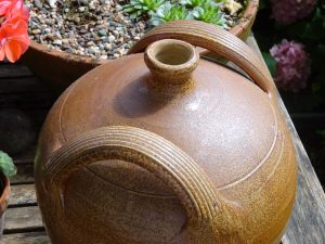 Vintage French stoneware walnut oil jar