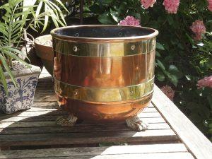 Antique copper jardiniere with brass bands, Arts & Crafts planter, copper rivets, claw feet, plant pot holder, indoor gardening, gardenalia