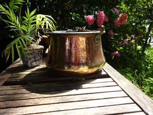 Antique copper cauldron, Arts & Crafts beaten copper cooking pot with iron chain, kitchenalia, camp fire, Romany hanging pot, witches pot