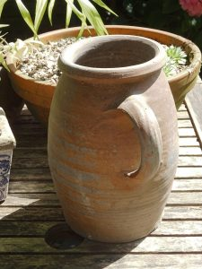 Antique French stoneware tall jug with handle, large and heavy French sandstone ewer, utensil holder, unglazed pottery pitcher, flower vase