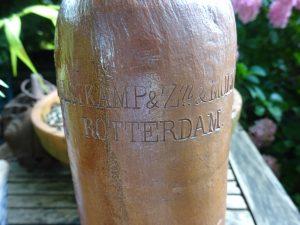 Antique Dutch stoneware gin bottle jug - Hulstkamp Zoon & Molyn, Rotterdam, Netherlands, salt glazed stoneware bottle with handle and cork