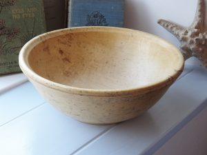 Antique sycamore wood dairy bowl, treen bowl, turned wood bowl