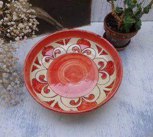 Vintage terracotta bowl, majolica dish, burnt orange and cream colour, fruit dish, serving bowl, rustic pottery, studio pottery from Devon