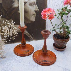 Victorian painted wood candlesticks, pair, orange , stencilled pattern in Rennie Mackintosh rose, Art Nouveau candlesticks, folk art