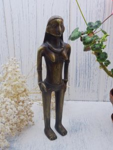 Vintage African bronze figure, female tribal figure, fertility statue, bronze female figurine, ancestor, warrior, African fetish, ethnic art