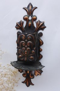 Art Nouveau copper match box holder, antique wall mounted vesta box holder