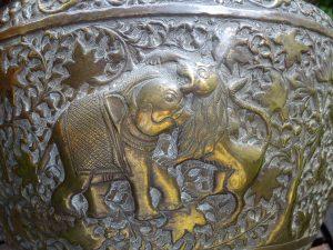 Antique Indian brass jardiniere, repoussé Indian brass planter, vase, elephants, lions, aged patina brass plant pot, Asian art, gardenalia