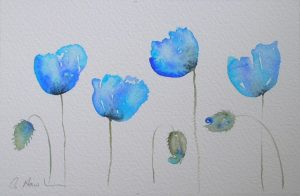 Watercolour painting AZURE POPPIES original art by artist Amanda Hawkins 22 x 14 cm unframed, unmounted. Poppy, floral art, botanical art