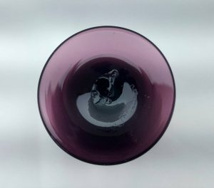 Antique English amethyst Georgian wine drinking glass with plain stem & rounded funnel shape body, Regency or William IV circa 1830