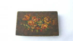 Antique Toleware brass & tin box, Victorian charmingly painted floral design top and sides 19th Century snuff or trinket box with hinged lid