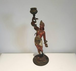 Antique cold painted spelter candlestick