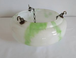 Art Deco plafonnier in white glass with lovely green marble-effect wispy veins, hanging 'fly-catcher' type bowl suspended by chains.