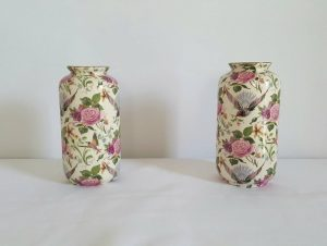 Antique pair of Crown Ducal ware ceramic vases by A.G Richardson & Co circa 1920's pretty Art Nouveau period pottery vases in Chintz pattern