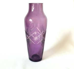 Vintage amethyst cut glass vase