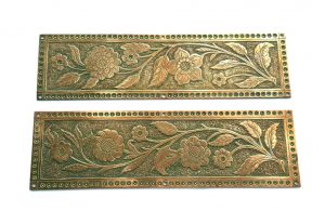 Aesthetic Movement copper finger plate, high quality Arts & Crafts - No 1 of 2, period door furniture. Victorian copper door plate.