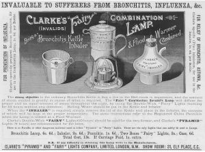 A Victorian ironstone pannikin made by Clarke's for use with his Combination Lamp using Pyramid Night Lights.