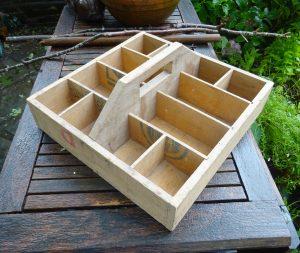 Vintage wooden crate, scratch built trug, garden storage box, shed storage, craft storage box