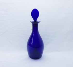 Late Georgian style cobalt blue glass decanter, Bristol Blue rum or brandy decanter, ground pontil