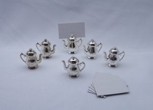 Vintage French silver plated teapot place name holders, boxed set of 6, portes noms, en metal argente, mini teapot name holders with cards