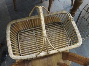 Vintage cane basket, wicker harvesting trug, shopping basket. Willow basket, picnic basket, fruit, vegetable trug. Sewing basket, fish creel
