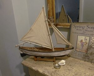 Vintage model yacht, separate stand, wooden hull & parts, linen sails, sailing boat, yacht ornament, decorative painted wood fishing boat