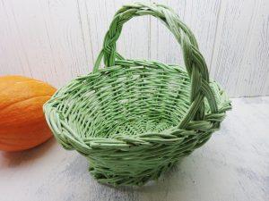 Vintage willow basket with old pale green paint, wicker shopping basket. Woven willow basket, picnic basket, fruit, veg trug. Sewing basket