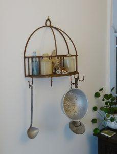 Vintage cast iron pot rack, utensil rack, five hooks, integral shelf, kitchen storage, clothes hooks, towel hooks, plant stand, coat hooks