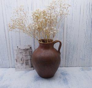 Vintage pottery vase, jug, salt glazed, drip glazed, Grecian urn shaped vase, rustic vase