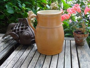 Vintage French pottery jug, large salt glazed stoneware wine pitcher, 2.7 litres, cider jug, water ewer, vase