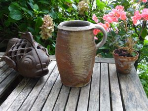 17th century French coiled stoneware jug, 2 litre rustic French sandstone ewer, utensil holder, very old pottery pitcher, vase, wine pitcher