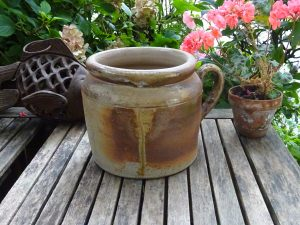 Vintage French stoneware rillette pot, large and heavy grease / confit pot, 1.9kg French sandstone rillettes jar with handle, utensil holder
