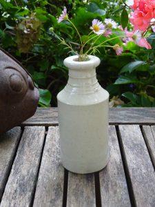 Antique stoneware ink bottle. Victorian salt glazed stoneware ink bottle, antique pottery bottle, bud vase, rustic brocante cottage decor