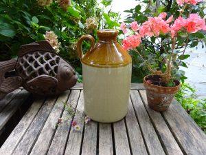 Antique salt glazed stoneware flagon, Victorian cider flagon, beer flagon, bottle. jug, breweriana, bar decor, pub decor, inn, bud vase