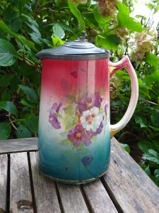 Victorian table jug with pewter lid, 1 litre pink blue blush ware Art Nouveau lidded pitcher, pansy pattern pint pottery ewer