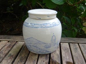 Antique Chinese ginger jar with original lid, 19th century blue and white ironstone pottery ginger jar, Chinoiserie decor, Oriental scenes