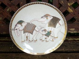 Vintage Japanese lustreware plate depicting elephant family, hand painted and gilded, pearlescent glaze. Large china platter, serving plate