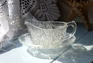 Vintage cut glass sauce boat with saucer