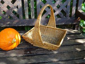 Vintage French basket, wicker basket. Woven willow basket. Sewing basket, harvesting basket, bread basket, fruit basket, toiletries basket