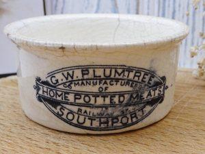 Victorian G W Plumtree Home Potted Meats pot, antique black transfer printed ironstone pot, advertising pot, crazed glaze stoneware pot