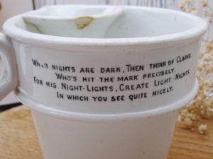Victorian Clarke's Fairy Pannikin ironstone jug for Combination Lamp, Invalid Bronchitis Inhaler Kettle & Food Warmer, Pyramid Night Lights