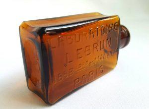 French amber chemist bottle Laboratoire Lebrun, Paris collectible antique bottle, 155 Boulevard de Magenta, old apothecary bottle