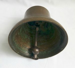 Large antique bronze bell for chapel, school, ship, estate, nautical. Includes bronze clapper, 9.5 inch